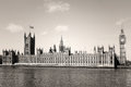 Houses of parliament and big ben in westminster london sepia Stock Photography