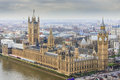 Houses of Parliament with the Elizabeth Tower - Big Ben as Viewed from the London Eye Royalty Free Stock Photo