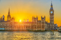 Houses of parliament london at sunset uk Royalty Free Stock Photo