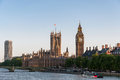 Houses of parliament in london westminster palace and the river thames at sunset great britain Stock Photo