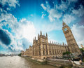 Houses of parliament and river thames london beautiful wide an angle view at sunset Stock Photography