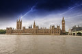 Houses of Parliament, Westminster Palace with Storm - London got Stock Photo