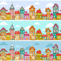 Houses pattern seamless with rows of colorful Royalty Free Stock Photo