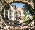 Houses reflected in river under bridge nuremberg germany arched construction old town pegnitz executioner house henkerhaus Stock Image