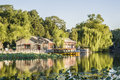 The houses and the reflection on the lake in beihai park beijing Royalty Free Stock Photography