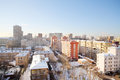 Houses in residential area at sunny winter day moscow russia Royalty Free Stock Photos