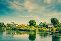 Houses by the river beautiful Royalty Free Stock Photos