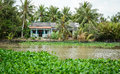 Houses with the river in Ben Tre, southern Vietnam Royalty Free Stock Photo