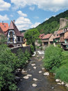 Houses and river in Kaysersberg. Royalty Free Stock Photo