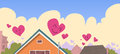 Houses Roof In Sky Red Heart Shape Love Symbol Valentines Day Banner Royalty Free Stock Photo
