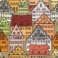 Houses seamless background city pattern pedestrian street in the old european with tower on the historic street panoramic skyline Royalty Free Stock Images