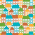Houses seamless pattern illustration of colored in town Royalty Free Stock Photography