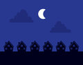 Houses silhouette night silhouettes at with moon Royalty Free Stock Photo