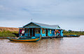 Houses on stilts on Lake Tonle Sap Cambodia Royalty Free Stock Image
