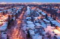 Houses and streets in a winter night Stock Photography