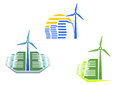 Houses with wind turbines Royalty Free Stock Photography