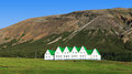 Houses wiyh green roof icelandic with Stock Photos