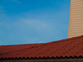 Housetop image of an old roof from terracotta tiles Stock Images