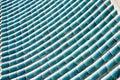 Housetop made of cyan blue glaze tiles Royalty Free Stock Photo