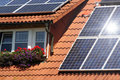 Housetop with solar Stock Photography