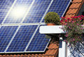 Housetop with solar Royalty Free Stock Images