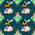 Housewife, bee and sheep seamless pattern