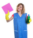 Housewife with blond hair and damp cloth at work Royalty Free Stock Photo