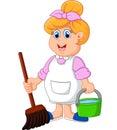 Housewife Cartoon Illustration