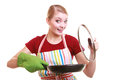Housewife chef in kitchen apron with frying pan happy or colorful skillet isolated studio shot Stock Photo