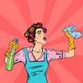 Housewife Cleaning the House with Spray and Rag. Pop Art. Vector