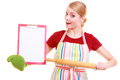 Housewife or cook in kitchen apron holds clipboard with empty blank isolated wearing small business owner entrepreneur chef shop Stock Image