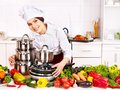 Housewife cooking at kitchen happy cook woman Stock Images