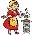 Housewife cooking soup this is file of eps format Stock Image