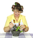 Housewife Crushing Herbs Royalty Free Stock Photo