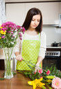 Housewife doing  bouquet Royalty Free Stock Photo