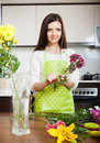 Housewife doing  bouquet on  kitchen Royalty Free Stock Photo