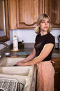Housewife Doing the Dishes Royalty Free Stock Images