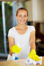 Housewife doing the household chores Royalty Free Stock Image