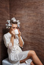 Housewife drinking morning coffee Royalty Free Stock Photo