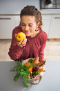 Housewife enjoying freshness of purchases happy young from local market Stock Photos