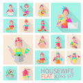 Housewife flat set icons with woman housework activities isolated vector illustration Royalty Free Stock Photo