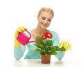 Housewife with flower in pot and watering can Royalty Free Stock Photo