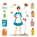 Housewife girl homemaker cleaning pretty girl wash cleanser chemical housework product equipment vector.