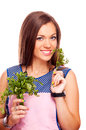 Housewife holding parsley Photographie stock libre de droits