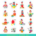 Housewife icon set with woman house working cleaning washing isolated vector illustration Royalty Free Stock Photos
