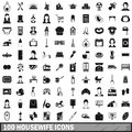 100 housewife icons set, simple style