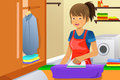 Housewife ironing a vector illustration of a clothes at home Stock Photo