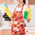 Housewife on kitchen with cleaning products Stock Photos