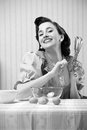 Housewife in the kitchen vintage portrait of a Royalty Free Stock Photo
