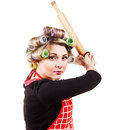Housewife like baseball batter player comic scene in pose Stock Photography